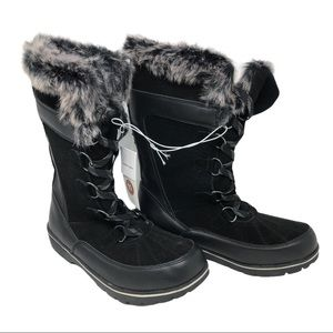 New Black Leather Winter Boots Womans sz10